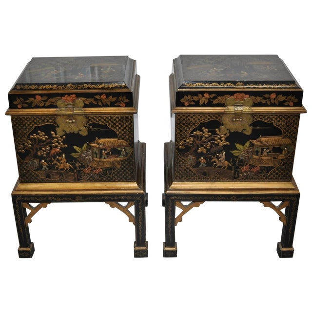 Vintage Chinoiserie Trunk Side Tables - A Pair - Image 1 of 8