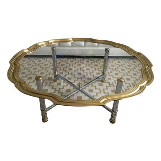 LaBarge Scallop Brass Chrome & Glass Coffee Table