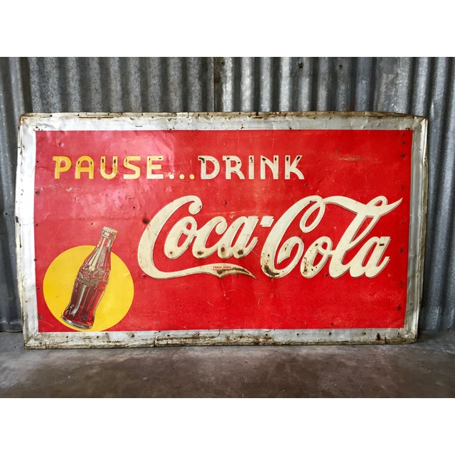 Vintage 1940s Original Metal Coca Cola Sign - Image 2 of 10