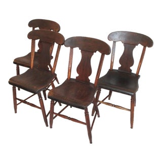 Set of Four 19th Century Original Painted Plank Bottom Chairs