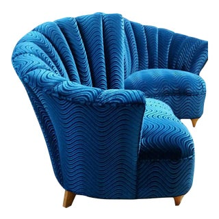 Mid-Century Blue Velvet Club Chairs - A Pair