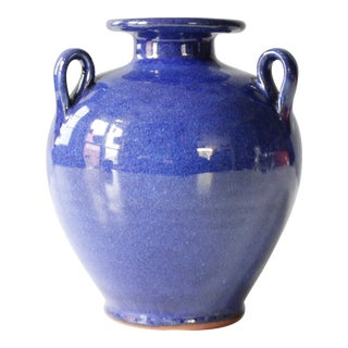 Small Crete Pottery Urn Vase Blue Ceramic Mid Century Greek Grecian