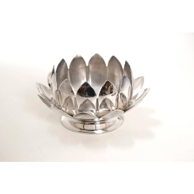 Mid-Century Silver Lotus Flower Holders by Reed and Barton - Image 6 of 8
