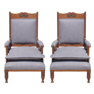 Vintage Arts & Crafts Mahogany Armchairs - A Pair