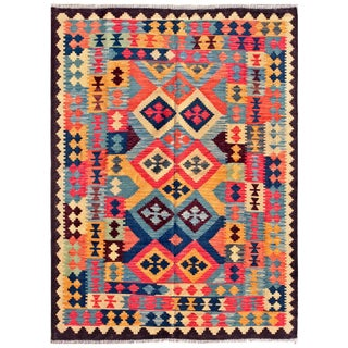 "Vintage Turkish Kilim Area Rug - 4'9"" X 6'6"""