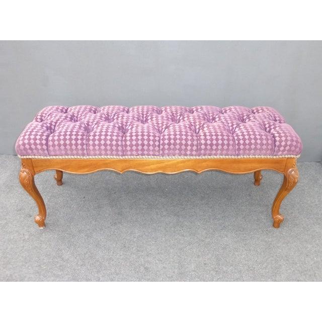 French Purple Velvet Diamond Tufted Bedside Bench - Image 2 of 8
