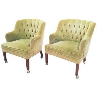 Mid-Century Dunbar Era Button Tuck Chairs - Pair