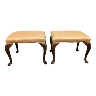 Custom English Queen Anne Style Ottomans - A Pair