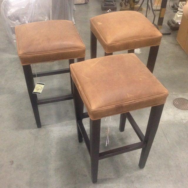 Image of Richard Allen Leather & Wood Bar Stools - Set of 3