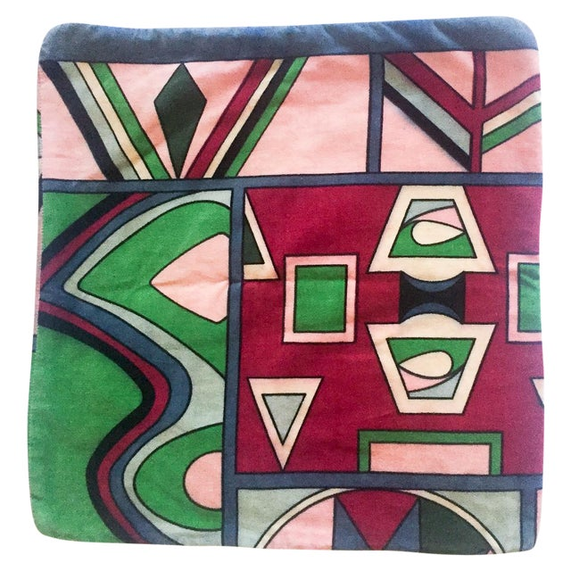 Vintage Pucci Style Velvet Throw Pillow Cover - Image 1 of 9