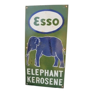 Vintage Enamel Elephant Esso Sign