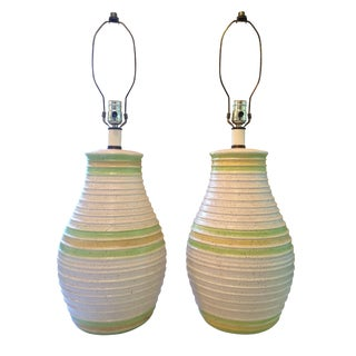 Mid-Century Retro Ceramic Table Lamps - A Pair