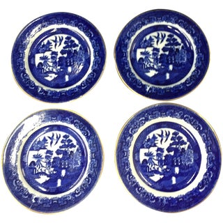 Dark Blue Transferware Plates - Set of 4