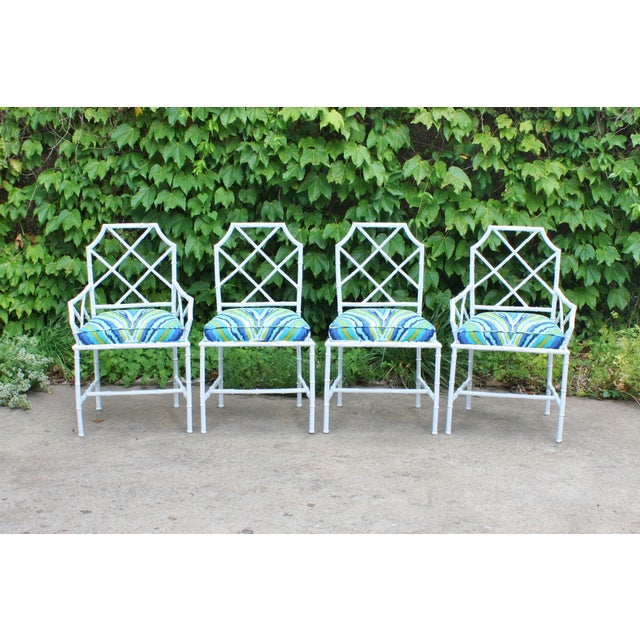 Chinoiserie Faux Bamboo Metal Chairs - Set of 4 - Image 2 of 6