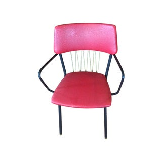 Mid-Century Red Vinyl Dining Chair