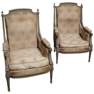 Pair of French Louis XVI Style Bergères with a Painted Finish