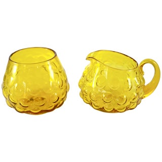 Blenko Yellow Bubble Glass Cream & Sugar - A Pair