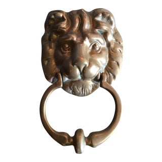 Vintage Solid Brass Regency Lion Door Knocker