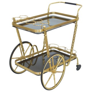Vintage Italian Brass and Black Glass Bar Tea Cart Mid-Century Modern McM- Cesare Lacca Aldo Tura Style Venetian Millennial