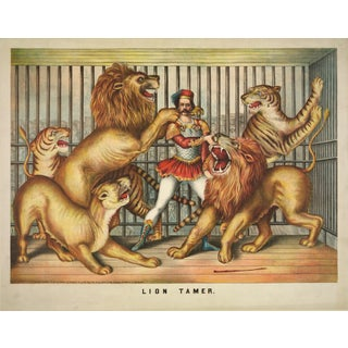 19th-C. The Lion Tamer Circus Print