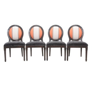 Round Medallion Back Dining Chairs - Set of 4
