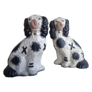 English Spaniel Staffordshire Dogs - a Pair
