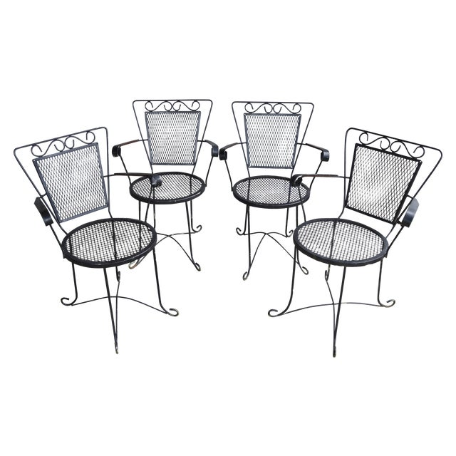 Image of Midcentury Wrought Iron Patio Chairs - Set of 4
