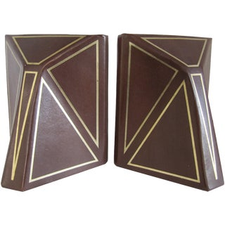 Vintage Brown Leather Bookends - A Pair
