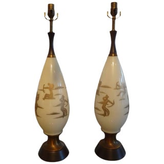 Mid-Century White Glass & Gilt Lamps - A Pair