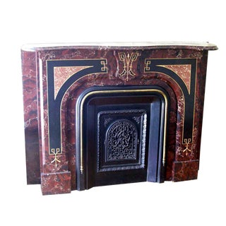 Faux Marble Painted Finish Antique Victorian Slate Mantel