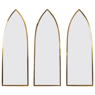 Trio of Gothic Arched Solid Brass Mirrors
