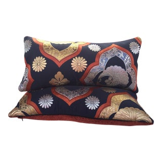 A Pair of Japanese Velvet Obi Pillows