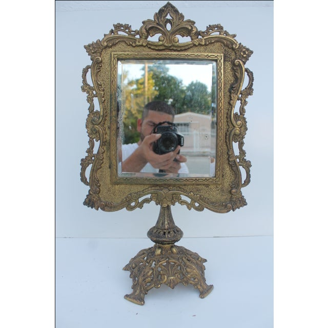 Antique French Ornate Gilt Metal Table Mirror - Image 2 of 11