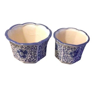 Blue & White Chinoiserie Nesting Planters - A Pair