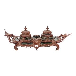 Antique 19th century Baroque Ceramic Inkwell
