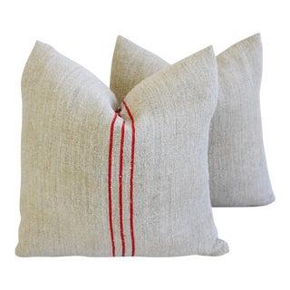 Custom French Homespun Textile Pillows - A Pair