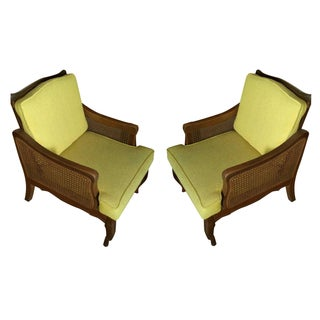 Vintage Mid-Century Style Caned Armchairs - A Pair
