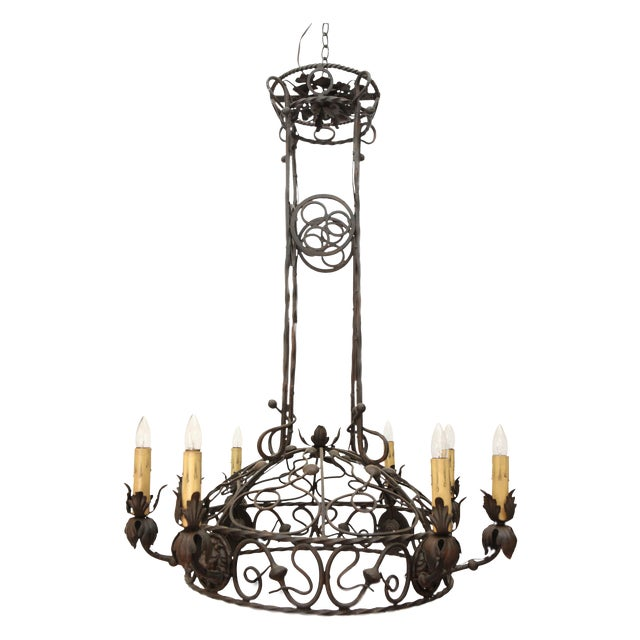 1940's Wrought Iron Chandelier - Image 1 of 8