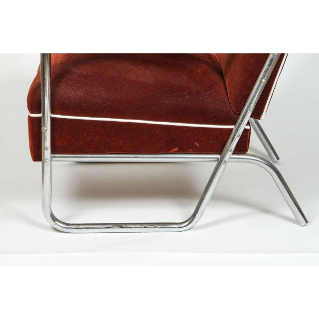 Vintage German Mohair Upholstered Chrome Chair - Image 6 of 6