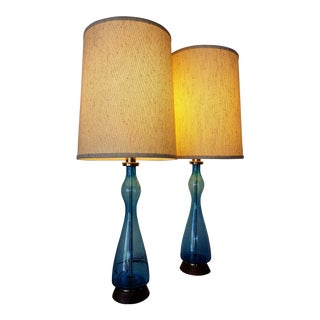 Mid-Century Modern Blue Blown Glass Lamps - A Pair