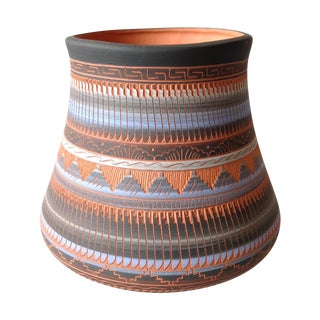 Vintage Navajo Incised Red Clay Vase