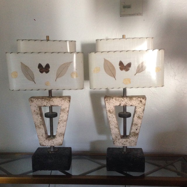 Deco Butterfly Cork Lamps - A Pair - Image 2 of 10
