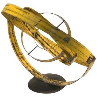 Yellow Reclaimed Steel Gyroscope