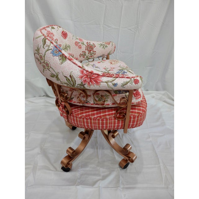French Floral Swivel Desk Chair Chairish