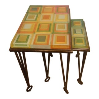 Acrylic Top Stacking Tables - A Pair