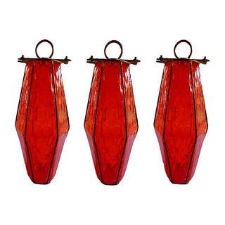 Red Italian Murano Pendant Lanterns - Set of 3