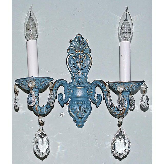 Blue Brass Sconces - Pair - Image 3 of 6