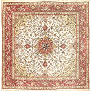 "Pasargad NY Persian Tabriz Handmade Silk & Wool Rug - 9'10"" X 9'10"""