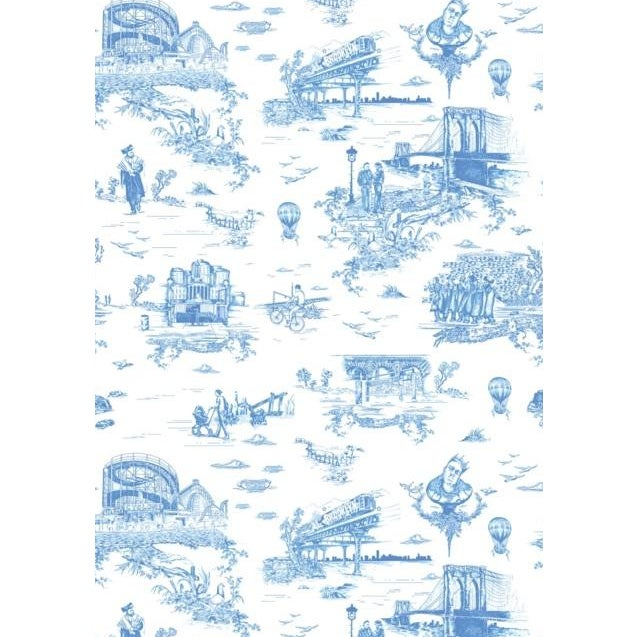 """Blue Flavor Paper """"Brooklyn Toile"""" Wallpaper - Image 1 of 3"""