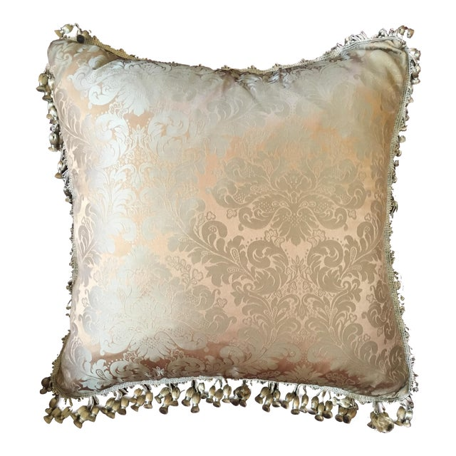 French Antique Silk Damask Pillow - Image 1 of 11